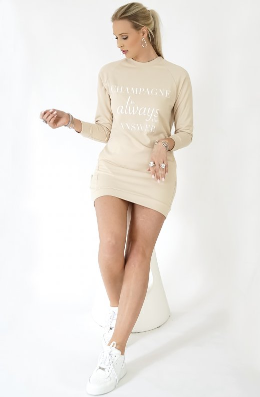 Blond Hour - Champagne Sweatshirt Dress - Beige