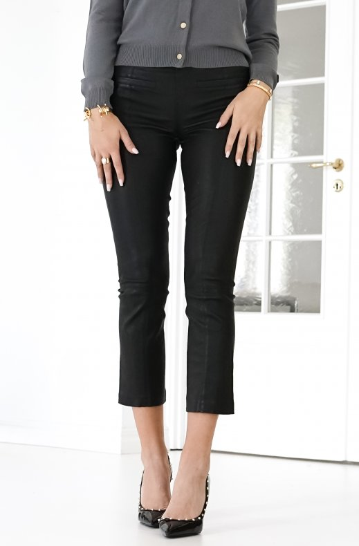 Fine Copenhagen - Ally Cropped Stretchleather Pant Black