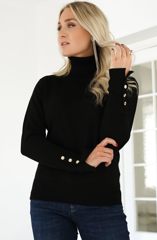 Freequent - Katie Rollneck Button Black