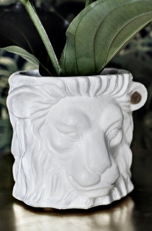 Garden Glory - Lion Pot Small White