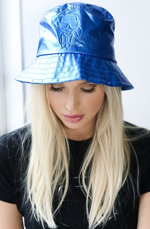 Karl Lagerfeld - metallic bucket hat blue