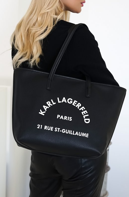 KARL LAGERFELD – RUE ST-GUILLAUME LEATHER TOTE BLACK