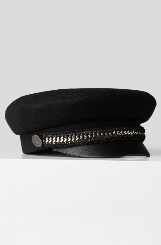 KARL LAGERFELD – WOOL CAPTAINS HAT BLACK