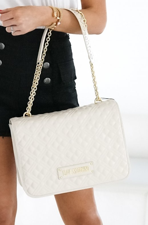 LOVE MOSCHINO - Handbag Quilted 33 x 25 cm Creme