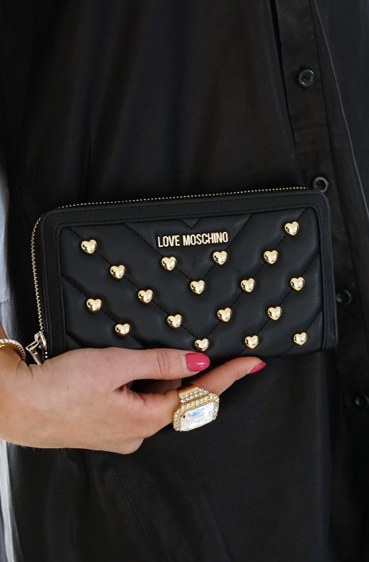 LOVE MOSCHINO - Heart Studded Wallet Black