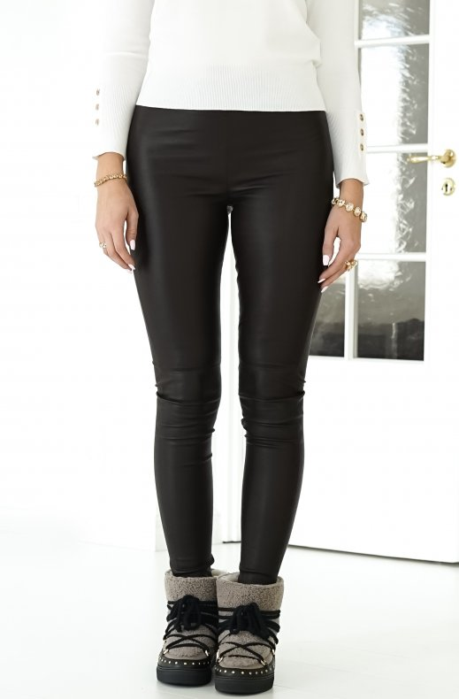 MOS MOSH - LUCILLE LEATHER LEGGINGS MOLE BROWN