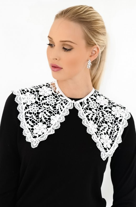 PLAIN VANILLA - FAKE COLLAR LARGE LACE WHITE C006